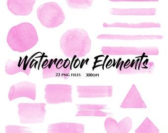 75% Off Sale-Purple Watercolor Elements-Watercolor Shapes-Scrapbooking Designs-Invitations-Logos-Clipart Designs