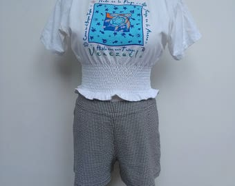 Gingham Shorts - Black White Hot Pants - Size 10