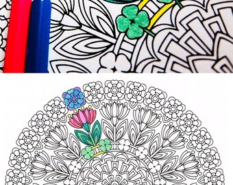 Mandala Coloring Page - Spring Renewal - printable coloring for adults and big kids - get well soon gift - rainy day relaxation activity