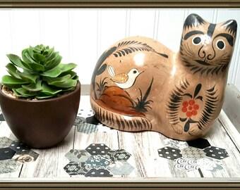 Tonala Pottery Folk Art Cat c.1965 made in Mexico Beautiful design with hand painted birds Vintage Folk Art Piece