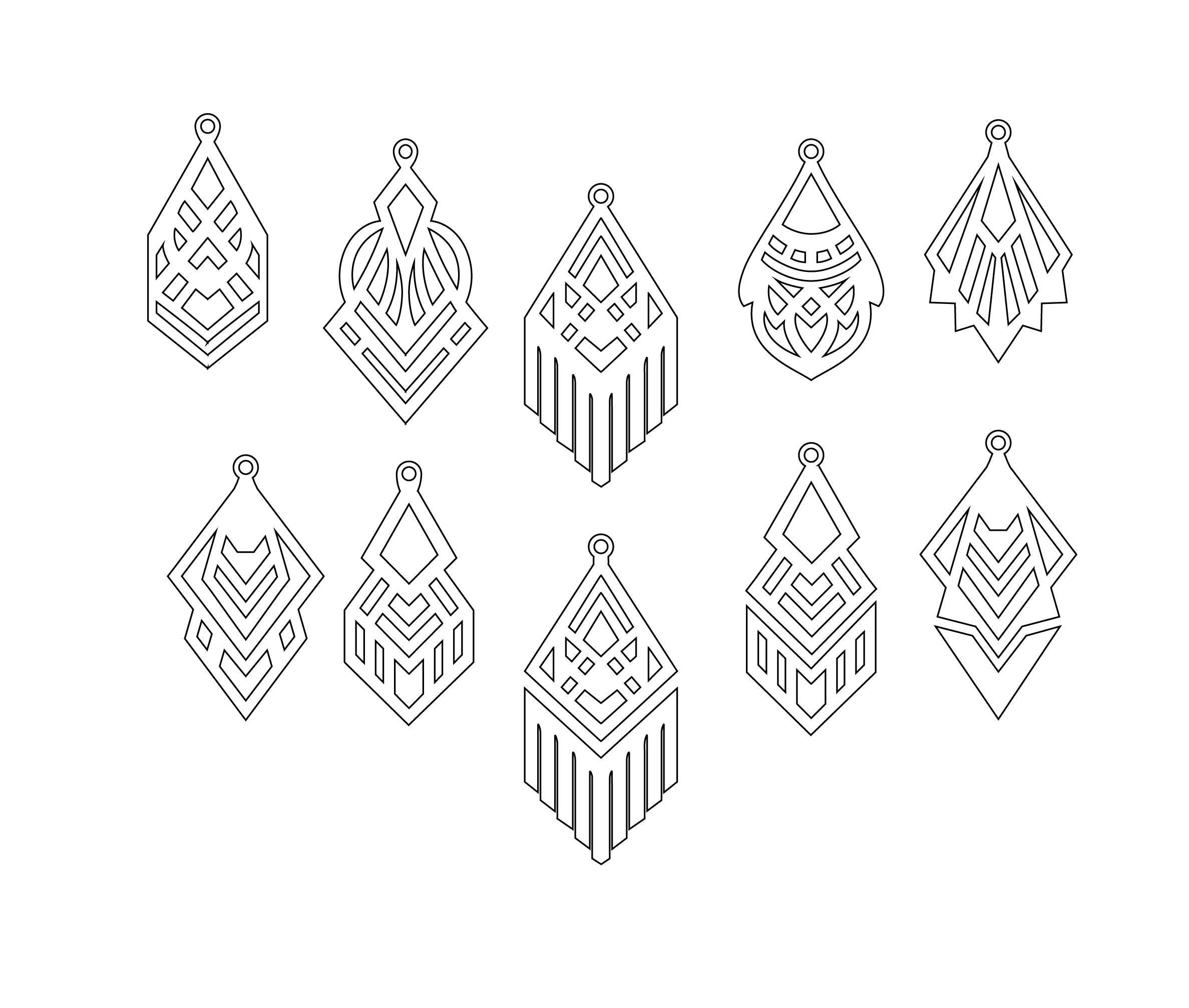Faux Leather Geometric Earrings Set, Laser Cut Templates