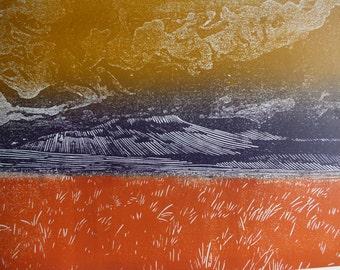 SALE: Yorkshire Dales wall art, Wild Boar Fell art print, original linocut, mountain art, autumn colours,  abstract landscape art