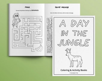 A Day in the Jungle [INSTANT DOWNLOAD] - Activity Book for Kids - printable, coloring page, DIY, party favors, games, children, birthday
