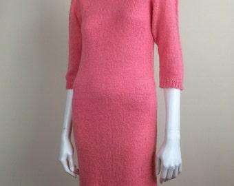 bubblegum pink knit sweater dress 70s