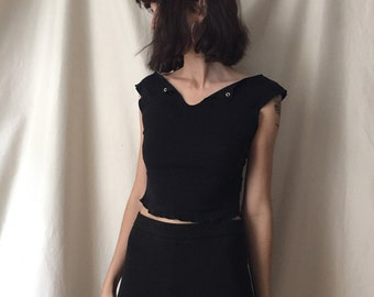 90's Black Knit Stretch Tank, extra small to small