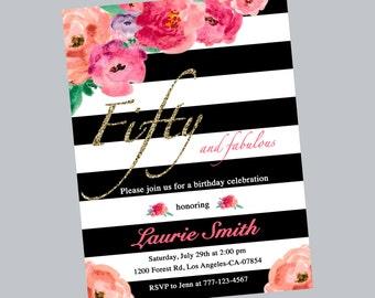 Watercolor floral 50th birthday invitation,flowers invitation,birthday party,birthday invitation,stripe,black white,printable,digital file