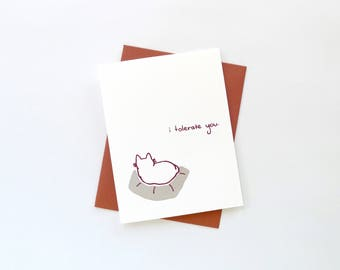 Valentine's Day Cat Card / I Tolerate You Cat Card / Love Anniversary Cat Card / Funny Cat Stationery