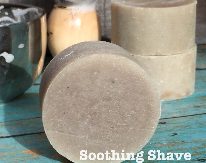 Citrus Shaving Puck with Oatmeal and Bentonite Clay. Good for Oily & Sensitive Skin, Men's Natural Organic Soothing Beard and Mustache Soap