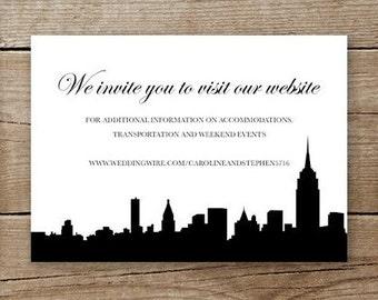 New York City Wedding Invitation Website Insert or RSVP Card • Printable Digital File Download • NYC Skyline • Additional Information
