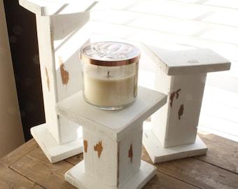 Candle holders- farmhouse decor- wood decor- farmhouse candle holder- shabby chic decor