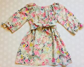 Size 18 months - Ready to Ship -Girls Floral Dress - Open Sleeve Dress - peekaboo sleeves - Flowy Dress - Easter Dress - Girls Easter Dress