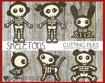Halloween Cuttable Files -For Use with Cutting Machines - Cute Skeletons svg, mtc, pdf, gsd, and wpc files, Cute Skeleton SVG