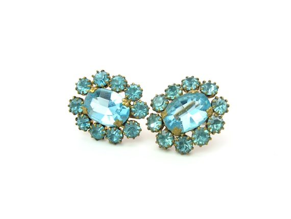 Czech Art Deco Aqua Glass Rhinestone Screw Back Earrings