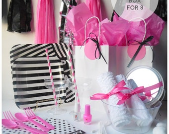 DIY Pink,Black and White Spa, Sleepover, Slumber Party in a Box for 8