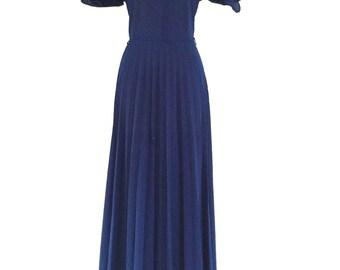 70s Vintage Midnight Blue Stripe Split Sleeve Boho Maxi Dress