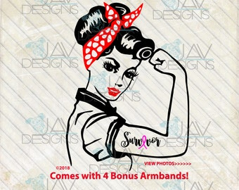 Rosie ©Faith Rosie svg Rosie the Riveter SVG , BONUS 4 svg Armbands, PinUp PNG, Strong woman Rosie Cut File, Silhouette, Cricut