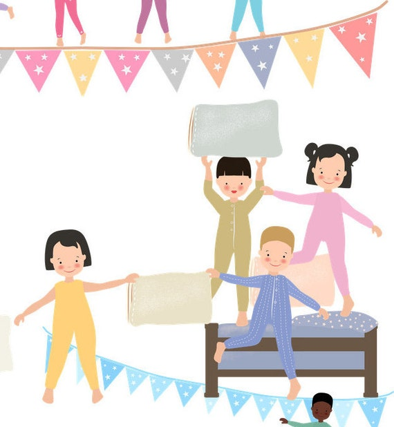 kids clipart pyjama clipart sleepover clipart pillow fight rh etsy com spa sleepover clipart clipart sleepover pictures