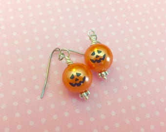 Fun Little Smiling Pumpkin Jack-o-Lantern Dangle Earrings for Halloween with Surgical Steel Ear Wires