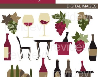 Wine Tasting Clipart sale / wine glassses clip art, wine bottles, grapes digital images / Commercial use graphic download / chilling wine