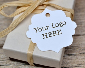 192 Tags - Custom Hang Tags Price Tags Product Display Fancy Cut Tag Your Logo Personalized