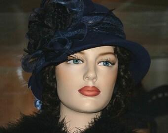 Flapper Hat, Cloche Hat, Edwardian Hat, Downton Abbey Hat, Royal Wedding Hat, Winter Hat, Church Hat - Mademoiselle Sigrid