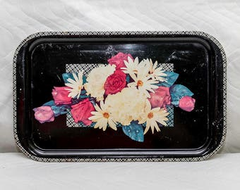 Vintage Oblong Serving Tray, Black with Red Roses White Daisies, Kitchen Kitsch, Kitschy