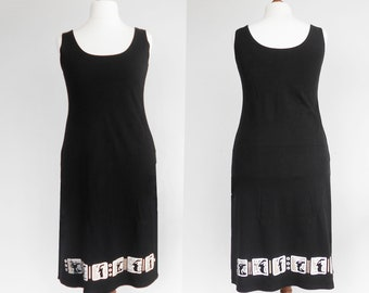 Vintage black cotton dress, Dress with white print, Summer dress, Midi dress, Black dress, Cotton dress, Size XL