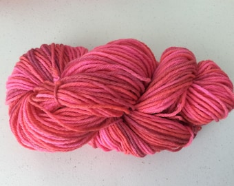 Hand dyed worsted weight wool yarn, pink, orange, red