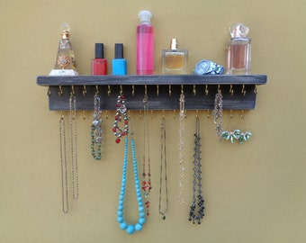 Jewelry Organizer - Necklace Holder - Jewelry Rack - Shelf - 35 Hooks - Shabby Black Finish - Hangers Installed - Many Other Colors Too