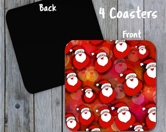 Santa Coasters, Drink Coasters, Funny Santa, Holiday Coasters, Santa Decor, Coaster Set, Santa Print Coasters, Red Coaster Set, Cup Mat