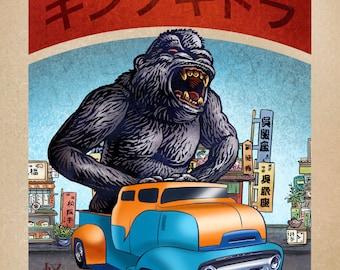 King Kong Monster Truck 8 x 10  signed print- Japanese Kaiju Monster in Truck