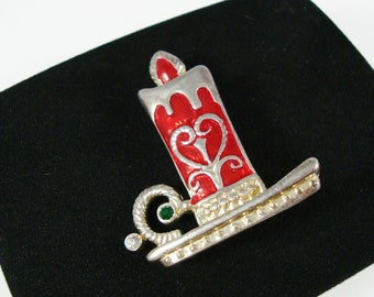 Vintage Christmas Brooch, Holiday Candle Brooch