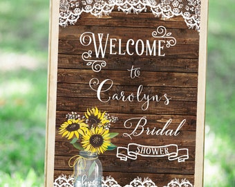Sunflower Bridal Shower SIgn, Sunflower Wedding Welcome Sign, Bridal Shower Sign Printable, Bridal Shower Banner, Wedding Shower Banner