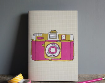 Holga Camera Notebook - Recycled Notebook - A5 Book - Travel Journal - Retro Camera Print