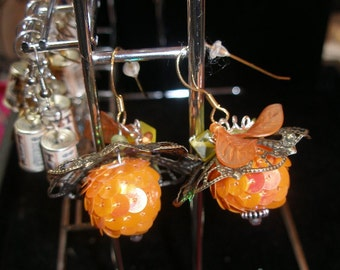 Earrings Orange Retrochic  lightweight sparkly  Halloween24/7, etsyBead, trashionteam, FunkyAlternativeJewelry, WWWG, OlympiaEtsy, paganteam