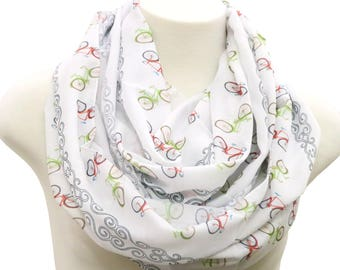 Handmade Bicycle scarf bike infinity scarf sports fitness Birthday gift for her Printed cardio loop circle Scarf Women Fashion Accessories