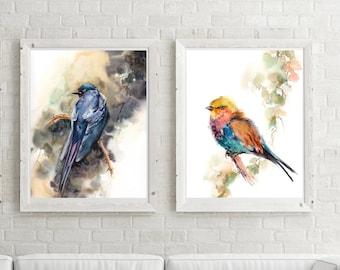 Bird Art Print Set, Set of 2 fine art prints, lilac bird and raven, Bird Watercolor Painting Art, Bird Art, Bird Wall Art prints set