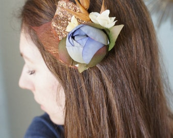 SHIP READY Rustic Bridal Flower Hair Clip Country Girl Wedding Headpiece Ivory Blossom Cornflower Blue Bronze Glitter Skeleton Leaves Wheat