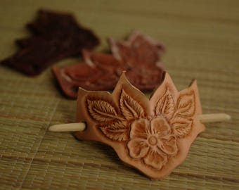 roses and leaves leather engraved hair clip, Barrettes-stick, bamboo stick, full brown.