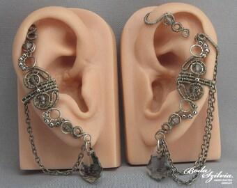 ear cuff setwith crystals - gothic ear wrap, silver ear cuff, fake piercing, gray ear cuff, elegant jewelry, gothic jewelry, chain ear cuff