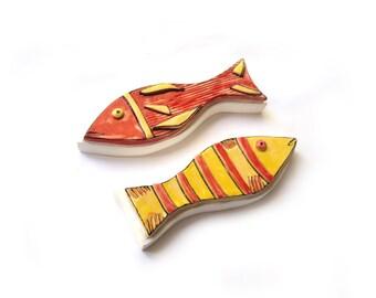 Wall Art Fish Set of 2 Ceramic Fish Wall Art Fish Crazy art fish Colorful ceramic fish Yellow fish Wallhanging fish  sc 1 st  Etsy & Wall Art Fish Set of 2 Ceramic Fish Wall Art Fish Crazy