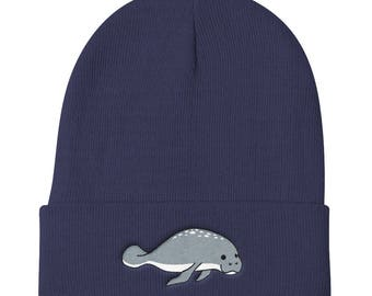Manatee Sea Cow Ocean Wildlife Creature Nature Embroidered Knit Beanie Hat