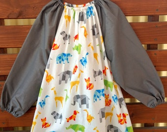 Kids Long Sleeve Art Smock - Size 4 - 7. Geometric Animals.