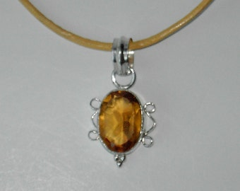 Yellow Glass pendant leather necklace (#543)