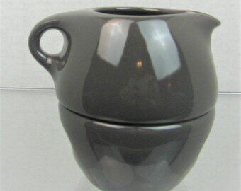 Iconic MCM Russel Wright for Iroquois Casual China Stacking Cream/Sugar Set in Rare Charcoal Color