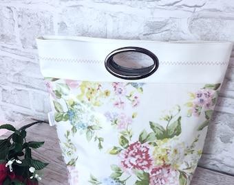 oilcloth bag, grocery bag, knitting bag, women's handbag, market bag, vegan tote, gift for her, lady's handbag, flower bag, everyday bag