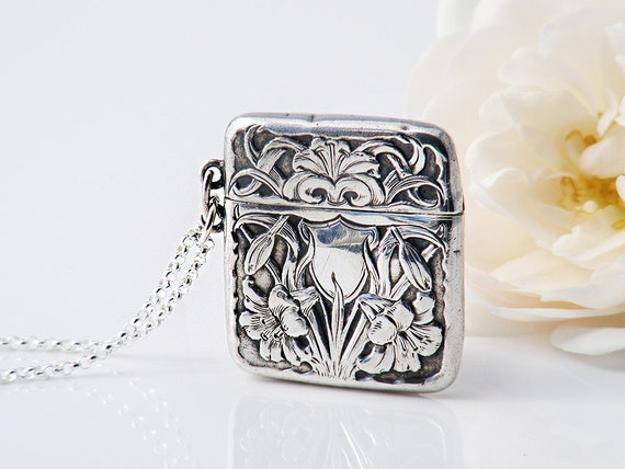 Antique Stamp Case or Sterling Silver Locket | Edwardian Era Hinged Chatelaine Case | Art Nouveau Lily Design - 20 Inch Sterling Chain