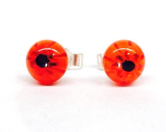 Murano Glass Millefiori Stud Earrings - Red and Black Flower on Sterling Silver Stud Post