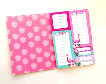 Flamingo sticky Notes in a cute booklet with gold foil details - MINT - 7 different designs