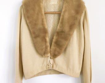 Vintage Cashmere Cardigan, Fur Collar Cardigan, Beige Cashmere Cardigan, Fur Trimmed Cashmere Cardigan
